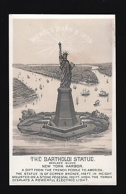 Original 1880s Trade Card - Nichols' Bark & Iron Tonic - Statue of Liberty