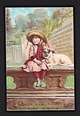 Original 1880s Trade Card - Kidd's Cough Syrup - Girl With Pug Dog - Mauston WI