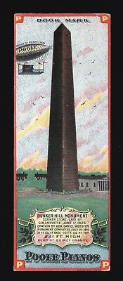Original 1880s Trade Card - Bookmark - Poole Piano - Hot Air Balloon & Monument