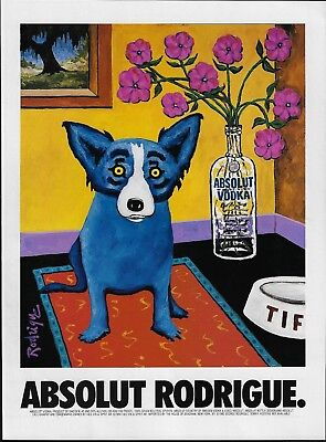 Absolut Blue Dog George Rodrigue Art Absolut Vodka 1999 Print Ad