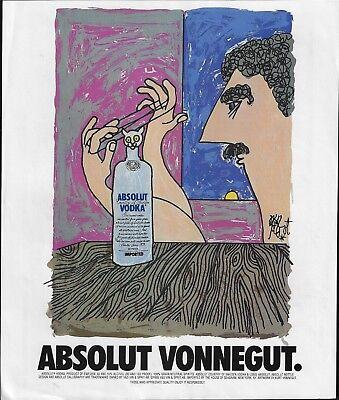 Absolut Vonnegut Cat In Cradle Art Absolut Vodka 1995 Print Ad
