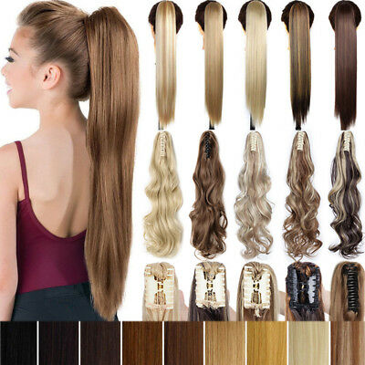 Claw Ponytail Clip In Long Ponytail Hair Extension Real Thick As Human Hairpiece