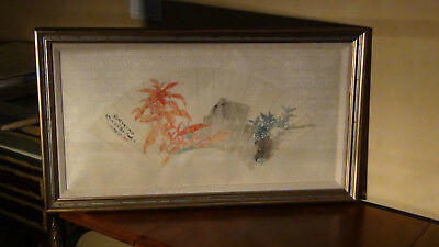 Antique Framed Chinese Qing Dynasty Watercolor Painting on Silk Old Piece by 陸鋼