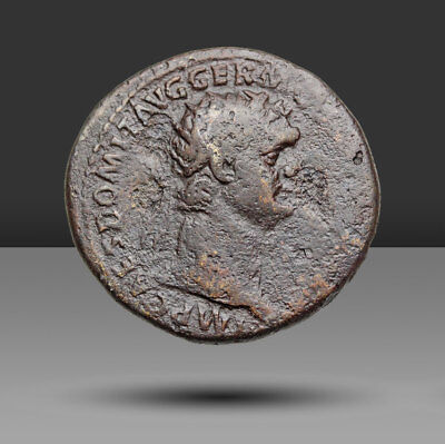 Domitian AE Dupondius, Virtus standing right, SC