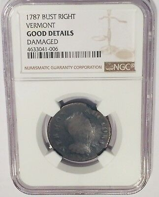 1787 Vermont Colonial Copper Bust Right Damaged NGC Good Detail Vermont Republic