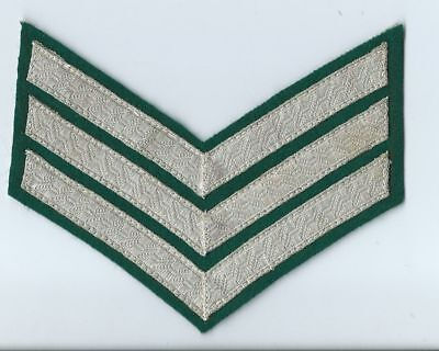 British and Commonwealth Sergeant's Chevrons-Silver on Green