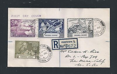 Sierra Leone 1949 UPU 75th Anniv. Registered FDC to US with multiple Transit Cxl