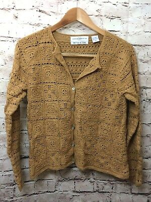 Vintage Marisa Christina Hand knitted Beige Tan Long Sleeve Crochet Sweater M