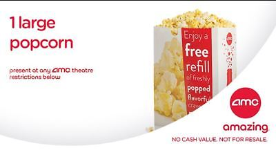 AMC Movie Theatre- 10 Large Fountain Drink & 10 Large Popcorn INSTANT