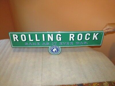ROLLING ROCK Beer SIGN LATROBE BREWING PA  Street Style Tin Tacker (RARE)