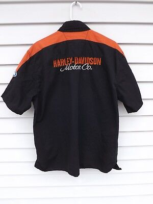 Harley-Davidson Buell Black/Orange Short Sleeve Button Front Shirt Men's Size L
