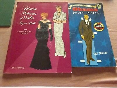Rare Collectable Princess Diana And Obama Paper Doll Books Tom Tierney