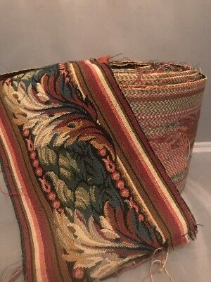 """FAB! Antique French Tapestry Border Trim Green Brown Leaves 6.75"""" Wide 19 Yards"""