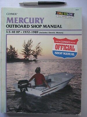 MERCURY OUTBOARD WORKSHOP MANUAL, 3.5 HP to 40 HP, TWO-STROKE 1972 to 1989 .