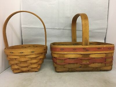 "2 Longaberger Small Baskets Fixed Handles 1993 & 1994, 9 ¼""x7"" & 5 ¾"" Square"