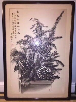 Vintage Framed Chinese Still Live Watercolor Painting Scroll by 王濟遠