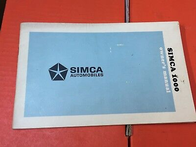 Simca 1000/1000s coupe  Bertone original owner manual book