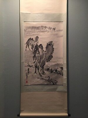 Large Vintage Chinese Watercolor Painting Scroll of Camels in Snow Storms by 季從南