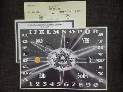 NEW A4 Ouija Board, Psychic. Gothic. Planchette. Instructions. FREE POST