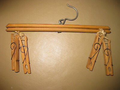 Vintage Wood Hanger With 4 Wood Clothes Pins and Swivel Hanger - Unique Spring
