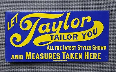 Antique Taylor Clothing Porcelain Flange Sign Double Sided Overalls Shirts Pants