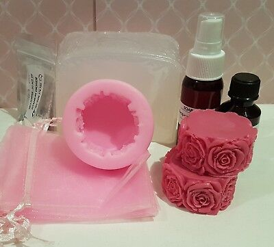 Soap Making Kit - Rose, melt & pour, fragrance, colour - beginners kit