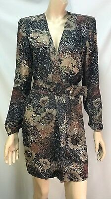 Vintage ARC Lightweight Open Front Floral Coat/Dress With Belt - Size 12