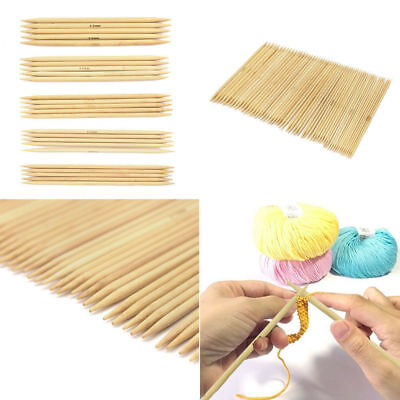 55Pcs Double Pointed Bamboo Knitting Needles Useful Sweater Glove Knit Tools Set