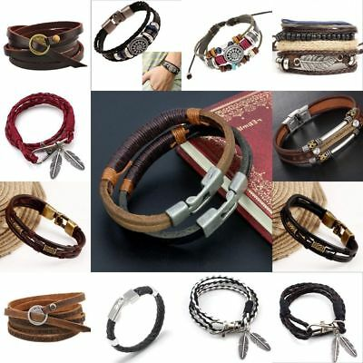 Fashion Punk Women/Men Multilayer Wrap Leather Braided Cuff Bracelet Wristband