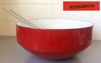 Vintage FINEL style Mid Century 60's EMALCO RED & WHITE ENAMEL STEEL SALAD BOWL