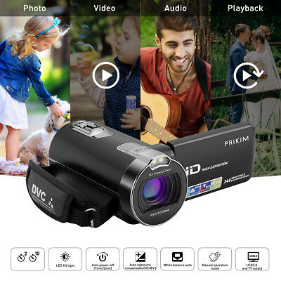 "Incosky HD 1080P Digital Caméscopes Video Camera 2.7"" LCD 24MP 16X ZOOM EU Plug"