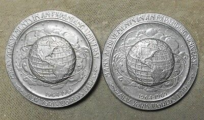 2 New York World's Fair 1964-65 High Relief Medals NYC 300th Anniversary