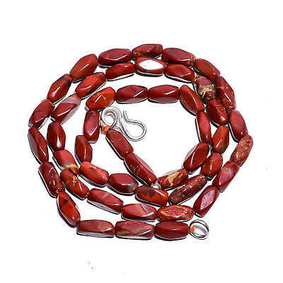 """Natural Red Jasper Gemstone Fancy Tube Smooth Beads Necklace 17"""" BN-30"""