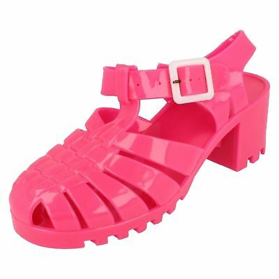 4ddb932274ae Ladies F9683 Hot Pink Heeled 90s Retro Jelly Sandals by Spot On Retail