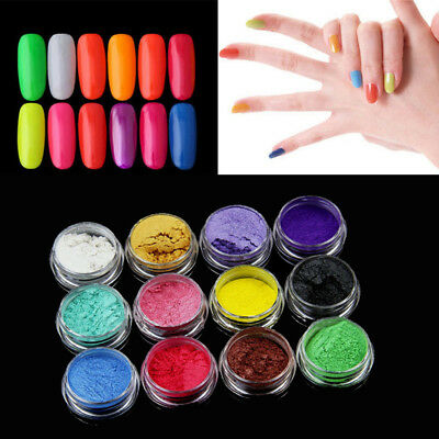 12Color/Set Natural Mica Pigment Powder For Manicure Nail Art Eyeshadow Cosmetic