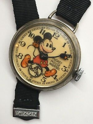 Vintage 1936 Ingersoll No 2 English Mickey Mouse Wrist Watch Fabric Strap Works