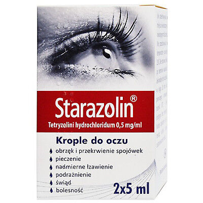 Starazolin Red Eye Drops for Dry Eyes Burning Irritation Redness Relief 2 x 5ml