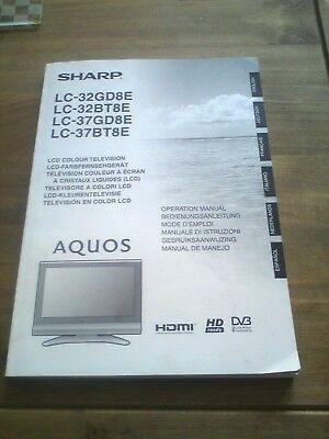 Genuine Sharp LCD AQUOS Television operating manual instruction