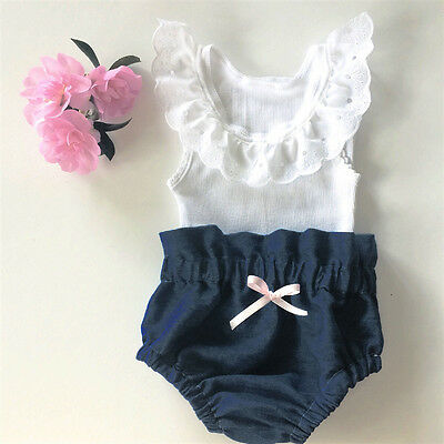 Newborn Infant Baby Girls Outfit Clothes Lace Tank Tee Tops+Denim Pants 2PCS Set