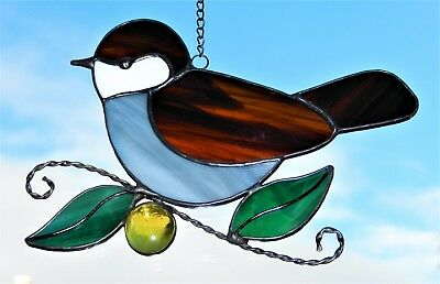 Hand crafted stained glass sun catcher. Sparrow.