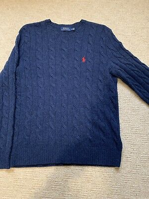 Ralph Lauren Cable Knit Jumper Navy Small Superb Condition