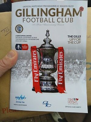 2018/19 Gillingham v Hartlepool United (F.A.Cup) mint condition programme.  Rare