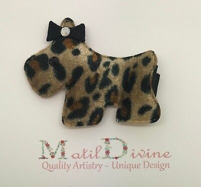 Baby Toddler Girl Non Slip Hair Bow 4.5 cm Alligator Clip Leopard Print Puppy