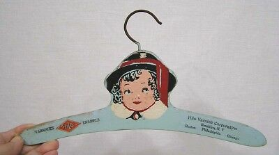 Vintage Childs Advertising Wood Clothes Hanger Hilo Varnishes w Girl Portrait