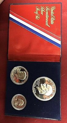 1776-1976 Silver Bicentennial 3 Coin Proof Set-Ike-Kennedy-Washington-Silver