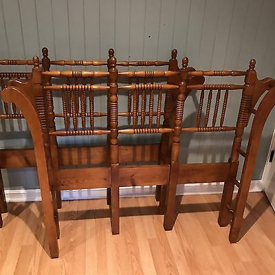 Rare Vintage Pair of Wrap Around Wooden Spindle Twin Size Headboards