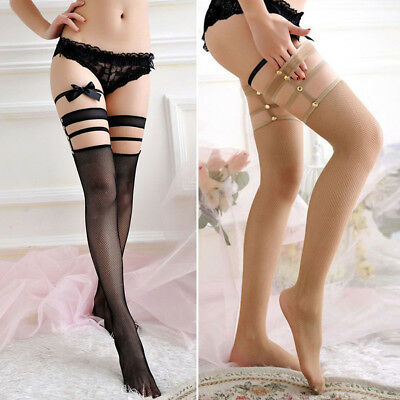 BL_ Women Sexy Hollow Strappy Over the Knee Socks Thigh High Fishnet Stockings S