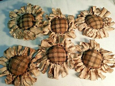Primitive  Bowl Fillers/Ornies/ Sunflowers/Brown Plaid Center/Grunged