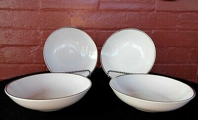 "Harmony House Fine China 4 Simone 3853 Platinum Edge 6 1/4"" Bowls"