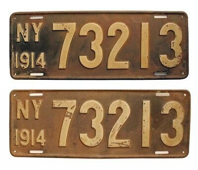 New York 1914 License Plate Pair 73213, Original Antique, Garage Sign Decor, YOM